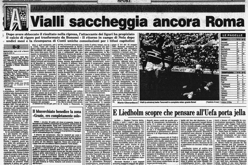 Precedenti di Roma-Sampdoria: le vittorie blucerchiate