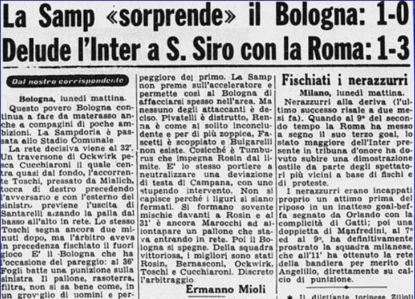 Serie A 1959/60: Bologna-Sampdoria 0-1
