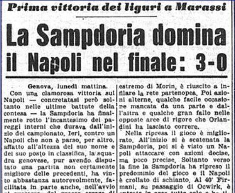 Serie A 1957/58: Sampdoria-Napoli 3-0