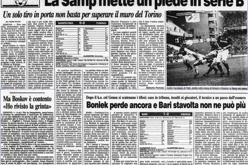 Serie A 1991/92: Sampdoria-Torino 0-0