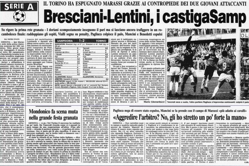 Serie A 1990/91: Sampdoria-Torino 1-2